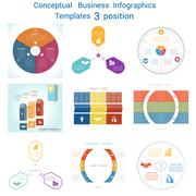 Set Infographics conceptual cyclic processes three positions Stock Illustration