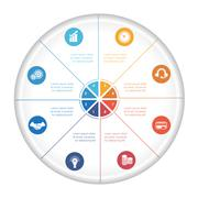 Pie chart diagram data 8 options for text area Stock Illustration