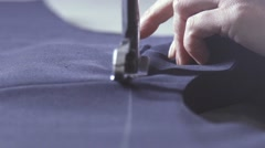Cutting fabric. Blue cut out fabric for clothing in a textile factory Stock Footage