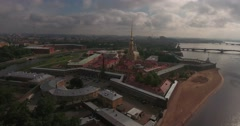 Beautiful aerial view of Peter and Paul Fortress at cloudy day. Stock Footage