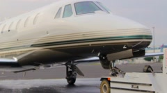 Moving private jet standing at the airport, Vaclav Havel Prague airport Stock Footage