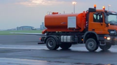 Moving water cart at the airport, Vaclav Havel airport Prague Stock Footage