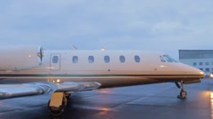 Exclusive private jet standing at the airport, Vaclav Havel Prague airport Stock Footage