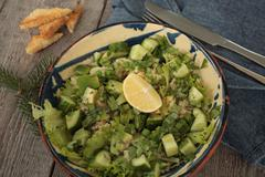Vegan healthy salad with bulgur, cucumber, Stock Photos