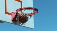 Super slow motion shot of basketball going into hoop, shot on Phantom Flex 4K Stock Footage