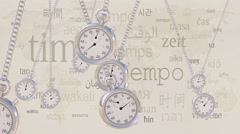 Swinging retro stopwatches against same inscriptions in different languages Stock Footage