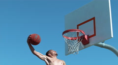 Super slow motion shot of basketball basketball slam dunk, shot on Phantom Flex Stock Footage
