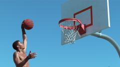Super slow motion shot of basketball basketball slam dunk, shot on Phantom Flex Stock Footage
