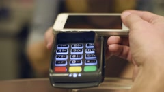 Contactless payment by using smart phone  Stock Footage