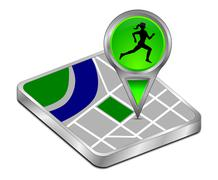 Map pointer with female jogger - 3D illustration Stock Illustration