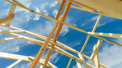 New Construction Roof Beams Stock Footage