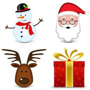 Four christmas icons Stock Illustration