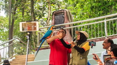 Girl Guide Asks Tourist Make Selfie with Parrot in Park Stock Footage