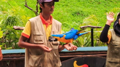 Guy Girl with Micro Show Trick with Speaking Parrot in Bird Park Stock Footage