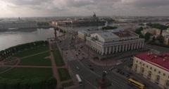 Aerial St. Petersburg ,Rastralnye columns, strellka Stock Footage