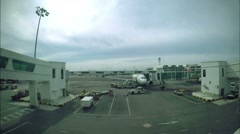 Plane at Airport on Loading Ready to Take Off. Timelapse. Stock Footage