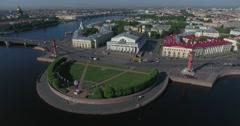 St. Petersburg Stock Exchange Building, Rastralnye columns, aerial Stock Footage