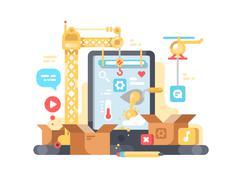 Creation and development of app Stock Illustration