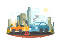 Road traffic accident Stock Illustration