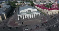 Aerial St. Petersburg Stock Exchange Building, Rastralnye columns, morning Stock Footage