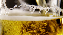 Beer with bubbles and foam Stock Footage