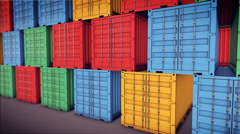 Stack of Cargo Containers Stock Footage