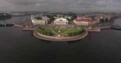 Aerial St. Petersburg Stock Exchange Building, Rastralnye columns, strellka Stock Footage
