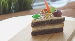 Piece of cake on the plate. Stock Footage