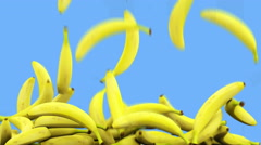 Bananas falling . Realistic animation.Isolate green screen Stock Footage