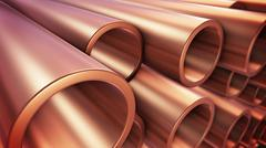 3d rendering of Copper pipes with selective focus. Stock Illustration
