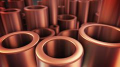 3D rendering of shiny metal copper pipes with selective focus effect Stock Illustration
