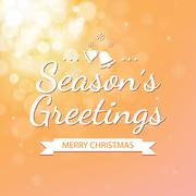 Season greetings with gold bokeh defocused background for christmas Stock Illustration