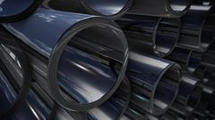 3d rendering of heap steel pipes with reflection Stock Illustration
