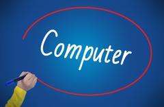 Woman hand writing computer with marker Kuvituskuvat