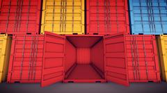 3d rendering of Open Cargo Container Open Doors Front view Stock Illustration