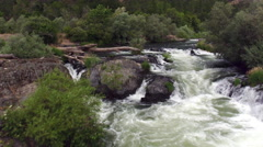 Aerial shot of white water rapids, Rouge River, Oregon, USA Stock Footage