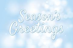 Season's greetings with blue bokeh background for christmas theme Stock Illustration
