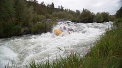 Super slow motion shot of group of people white water rafting, shot on Phantom Stock Footage