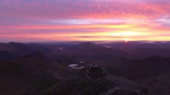 Aerial view of the Summit of Snowdon at dawn. Stock Footage