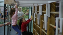 Children is engaged in gymnastics at the sports hall Stock Footage