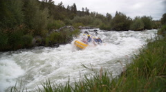 Super slow motion shot of group of people white water rafting, shot on Phantom Stock Footage
