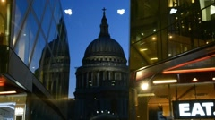 LONDON  St Paul Cathedral facade at night. It is a major city Stock Footage