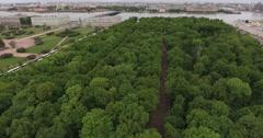 Park aerial view, summer garden Saint-Petersburg, Russia Stock Footage