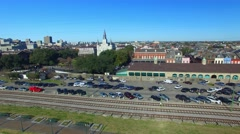 New Orleans homes and rail tracks, aerial city view Arkistovideo