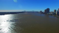 New Orleans Bridge and Buildings, Louisiana aerial view Stock Footage