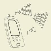 The wire of the new wireless phone Stock Illustration
