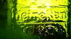 Heineken beer global brand rotation shot Stock Footage