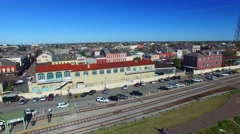 New Orleans homes and rail tracks, aerial city view Stock Footage