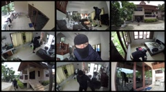Montage of Thief in Mask Stealing House. Surveillance Camera Video Stock Footage