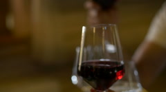 Married Couple Raising Wine Glasses Wine. people drinking White wine. Stock Footage